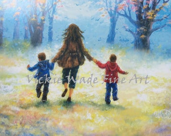Mother Two Boys Art Print, two sons, two brothers, mom, wall art, mother paintings, mother's day gift, art, brother paintings, Vickie Wade