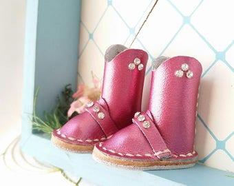 Mini Metallic Fuchsia Deep Pink Leather Blythe Doll Boots Azone Pure Neemo Size M Hand Made By MizuSGarden