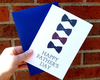 Happy Father's Day Bowtie  Single Greeting Card with Matching Envelope