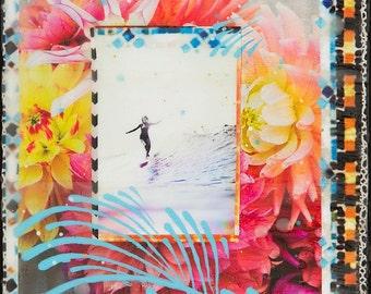 RADIATE KASSIA MEADOR, Giclee, 8x8 and Up, Surf Art, Surfer, flowers, Surfing Cardiff, California, Ocean Art, Encintias, Peonies, surf art