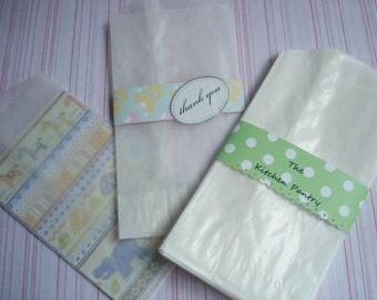 Glassine Bags 50 Flat Treat Glassine Bag - MEDIUM 3 x 5.5  Favor Bags
