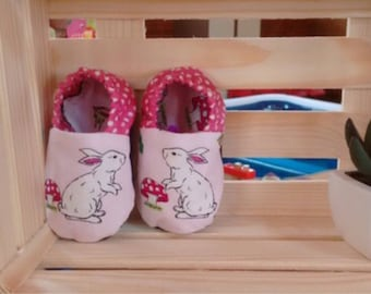 Soft fabric bunny rabbit baby shoes - slip on baby shoes - baby slippers - new baby gift - baby shower gift
