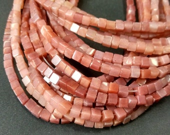 Natural Pink stone Cube Beads 4x4x4mm- approx 90pcs/Strand