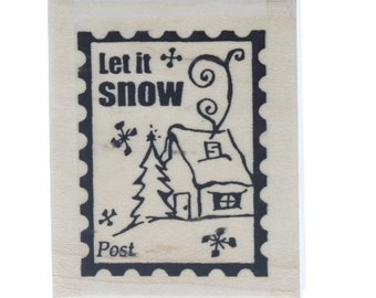 Stampington And Co Let it Snow Post Postage Wood Mount Rubber Stamp