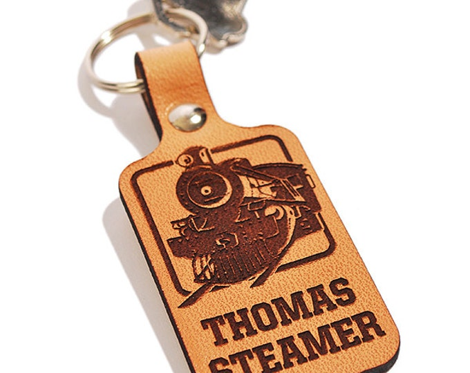 PERSONALIZED KEYRING - Steam Locomotive Design - Engraved Leather