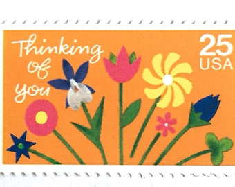 5 Thinking of You Stamps // Flower Stamps For Cards and Letter Writing // Vintage 25 Cent Happy Mail Postage Stamps for Mailing