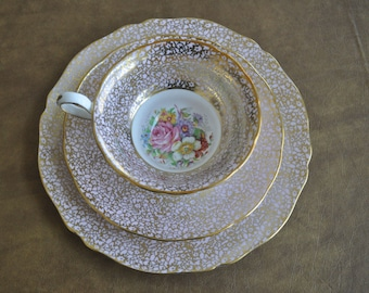 VINTAGE GROSVENOR Bone China Tea Cup and Saucer TRIO Gold with pink and flowers