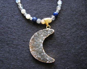 Moon necklace gold | druzy  pendant | beaded stone | lapis lazuli | moonstone bead | labradorite | night sky | druzy crystal