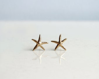 Teeny Tiny Starfish Earrings. Brass Starfish Stud Earrings. Nautical Jewelry. Bridesmaid Gift. Simple Modern Jewelry