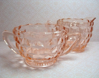 Vintage Pink Depression Glass - Pink Cream and Sugar Bowl - Pink Cubist Cream and Sugar Bowl