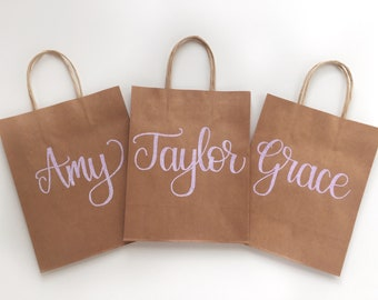 Bridesmaid Gift Bag, Bridal Party Gift, Personalized Gift Bag, Custom Hand Lettered Gift Bag, Bachelorette Proposal, Groomsman Favor Bag