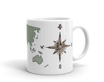 World Map and Compass Mug
