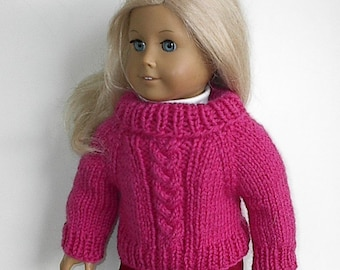 "18 Inch Doll Clothes Cable Braid Knit Sweater Fuchsia Pink Buttons in Back Handmade to fit the American Girl and Similar 18"" Dolls"