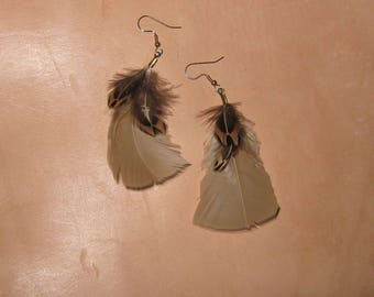 Natural Feather Earrings,Hypoallergenic Earrings with Titanium,Niobium, Nylon or Surgical Stainless Steel French Hooks