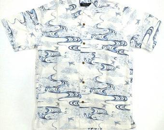 Gilevans Japanese Motif flying swallows Hawaii shirt