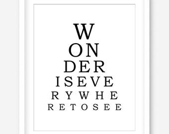 Inspirational quote printable art - eye chart print - black and white art - printable wall art - motivational wall decor - DIGITAL DOWNLOAD