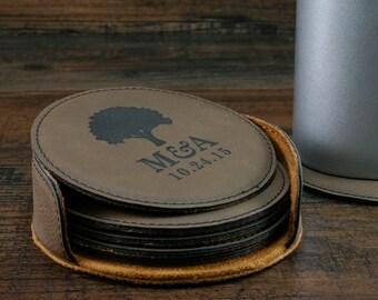 Personalized Leather Coaster Set, Customized Round Leather Coasters, Engraved Coasters, Custom Wedding Coasters, Personalized Wedding Gift