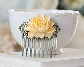 Buttercup Cream Yellow Rose Flower Hair Comb. Wedding Comb, Bridal Hair Comb, Art Nouveau Filigree Comb, Romantic Country, Shabby Chic
