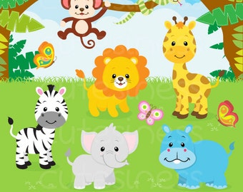 Jungle Animal Clipart , Safari clipart, Safari Clip art, Jungle Clip art, Jungle clipart, Baby Animals Clipart,  Zoo Clipart, animal clipart
