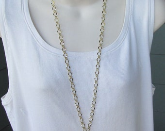 Gold Chain ID Badge Lanyard Shiny Gold Half Flat Curb Chain Lanyard
