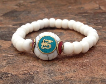 Tibetan Yak Bone Beads Stretch Wrist Mala with Tibetan Om Bead Capped