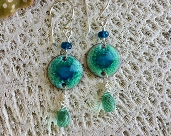 Hand Made Enamel Earrings, Sea Green Quartz, Natural Apatite, Sterling Silver, 14K Gold Filled