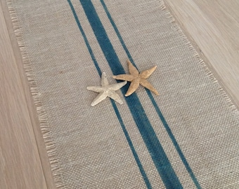 Burlap Table Runner 10-14x48 Deep Aqua Grain Sack Striped Home Decor