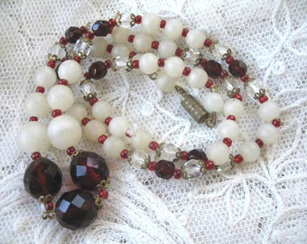 Vintage Necklace ~ Red & Camphor Glass, Crystal Beads