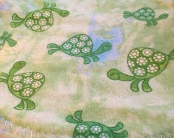 Green and Blue Turtle Baby Burp Pad
