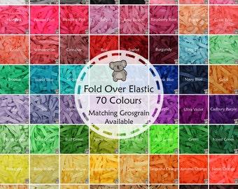 "Fold Over Elastic 70 Colours 15mm (5/8"") Soft Shiny Baby Headband Tutu FOE"