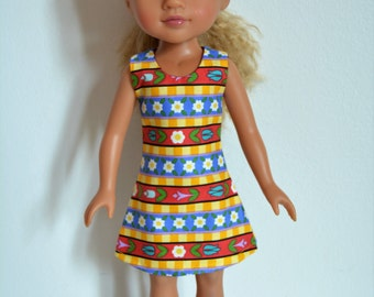 """Handmade Doll Clothes Dress fits 14"""" Hearts for Hearts H4H G2G Dolls Handcraft Q3"""