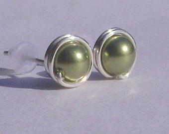 Small Light Green Pearl Stud Earrings (7mm), Swarovski Pearl Stud Earrings, Wire Wrapped Sterling Silver Stud Earrings, Small Green Studs