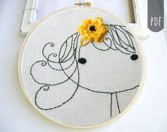 PDF Embroidery Pattern, Little Girl with Flower, Hand Stitching, Hand Embroidery Design