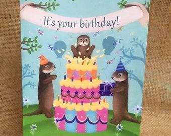 Otter Birthday Card, River Otter, Sea Otter, Happy Birthday, Woodland Birthday, Cute Animal Party