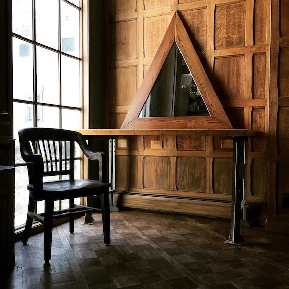 LARGE Triangle Mirror, Vintage Geometric Mirror, Large Oak Triangle Wall Mirror, Statement Mirror