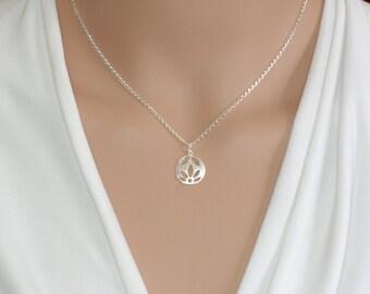Lotus necklace Silver lotus Lotus flower  Lotus charm Yoga jewelry Yoga necklace Lotus flower jewelry