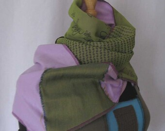 green/mauve orchid coffeebean scarf
