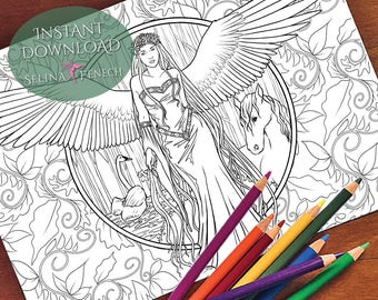 Angel of Nature Vila Coloring Page/Digi Stamp Fantasy Printable Download by Selina Fenech