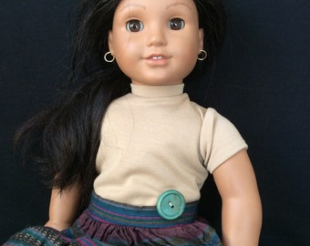 Tan Top and Southwestern Skirt Outfit for American Girl Dolls