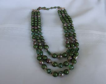 Moss Green and Gold Multi Strand Necklace