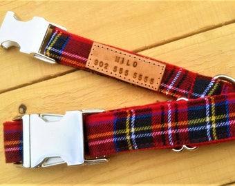 The Red Plaid Collar, engraved dog collar, dog collar with name, red tartan dog collar, dog collar with metal buckle, Royal Stewart