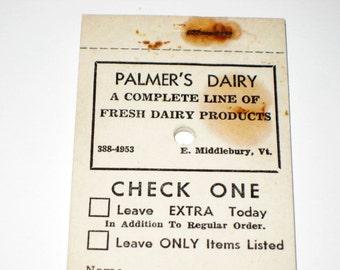 Vintage Dairy Order Sheets