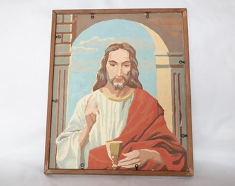 Vintage Paint by Number,  Virgin Mary Jesus Framed, Religious PBN
