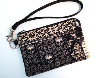 Wristlet, Skull Purse, Skull Handbag, Clutch, Gothic Purse, Gothic Handbag, Nevermore, Cell Phone Wallet, Rocker Chic, Edgy Handbag, Goth