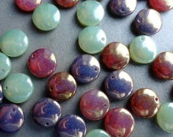 Premium Czech Glass Beads - Luster lentil Mix - Large Lentil Beads - Bead Soup Beads