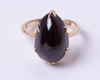 Antique Victorian 15ct Yellow Gold & Almandine Garnet Tear Drop Pinkie Ring