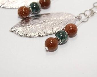 Leaf and Sandstone Earrings, Sandstone Earrings, Imperial Jasper, Nature Style Earrings