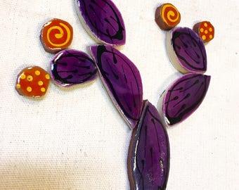 Purple Prickly Pear Handmade Ceramic Mosaic Tile Pack