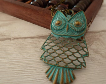 Turquoise owl necklace, owl charm, Bronze chain necklace, Brass necklace, Bohemian wedding, gift for her, birthday gift, Owl pendant