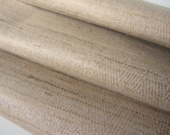 Warm beige Indian natural raw silk fabric nr 818 per yard or meter